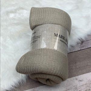 Mark & Graham Bedding - NWT Mark & Graham taupe color block throw blanket